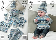 King Cole Knitting Pattern for Baby Boy Clothes Set - 4012