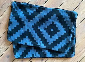 2 x IKEA LAPPLJUNG RUTA Cushion covers - Indigo Blue And Black 40x65cm