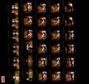 LD220 ORIG Contact Sheet Photo 1990 Cincinnati Reds Oakland A's Lou Piniella Ump