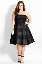 New City Chic Miss Shady Stripe Strapless Fit & Flare Party Dress Size 24 XXL