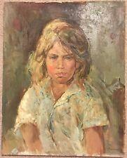 Vtg NICOLA BLAZEV (1913-1974) Portrait of a Blonde Girl Green Background Signed