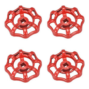 Round Wheel Handle, Square Broach 6x6mm, Wheel OD 51mm Paint Cast Steel Red 4Pcs