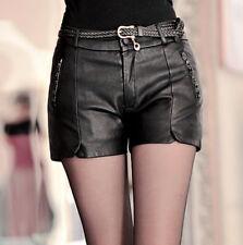 2018 Women Lady Winter Fashion Cool Leather Slim Fit Low Waist Punk Shorts Pants