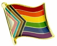 Progress Pride LGBTQ  - Gay/ Trans/ Ethnic Minorities Rights : Lapel Pin Badge