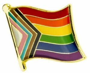 Progress Pride LGBTQ  - Gay/ Trans/ Ethnic Minorities Rights : Lapel Pin Badge