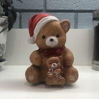 Vintage Mann Teddy Bear & Baby Teddy Bear Christmas Wind Up Music Box Ornament