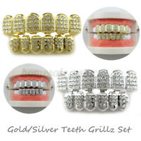et 14K Gold/ilver Teeth Brace Top Bottom CZ Tooth Cap Grill Party Fashion  S S1