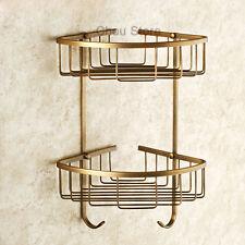Antique Brass Bathroom Corner Shelf Wall Mount Dual Tiers Shower Storage Basket