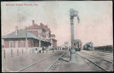 NEVADA MO Railroad Station Depot Train Antique Postcard Old Vtg Missouri RR PC
