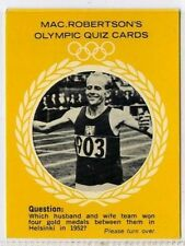 (Gm324-100) RARE, MacRobertsons, Emil Zatopek, Olympic Quiz 1964 EX