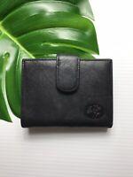 Vintage BUXTON Black Leather Bi Fold Wallet Kiss-lock Coin Purse Billfold Womens