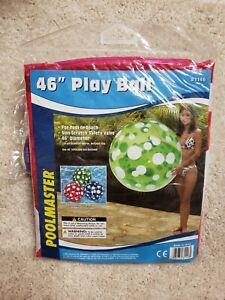 "Vintage Poolmaster 46"" Jumbo Beach Ball Magenta with white dots"