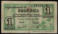 Billete Ajuntament de Solsona 1 peseta 1937 serie C 12334 pesseta ajuntamiento