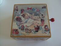 Vintage Musical Wood Wooden Christmas Box With Crank