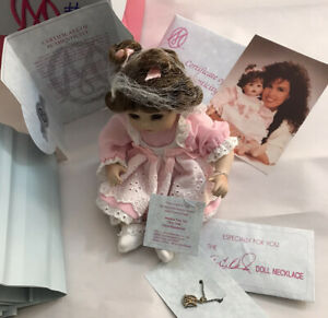 "Marie Osmond Porcelain Doll Jessica Tiny Tot 2001 CoA Pink Dress Brown Hair 6"""