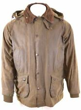 BARBOUR Mens Waxed Cotton Jacket Size 42 XL Khaki Cotton Bedale BO06