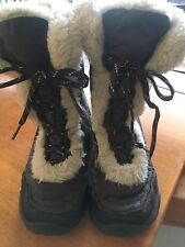 The North Face Girls Kids Nuptse Faux Fur II Boots Brown  Shoes sz 2