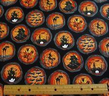 1 yard of ORANGE HALLOWEEN PICTURE CIRCLES on BLACK 100% Cotton Fabric