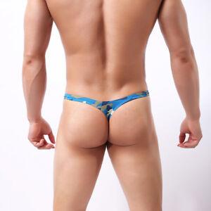Men's Underwear Jock Strap G-string Pouch Camouflage Bikini Briefs Underpant WNF