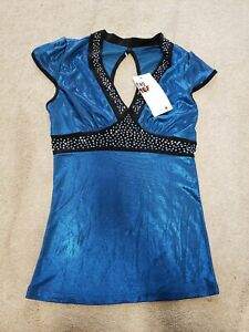 Liberts Matte Blue Metallic Dance Top with studs costume Competition NEW! LA