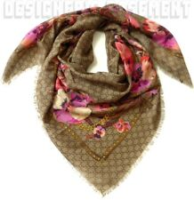 """GUCCI pink Oshibana Flowers PANSHIE GG giant 53"""" wool SHAWL scarf NWT Authentic!"""