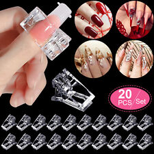 20pcs Nail Tips Clip Quick Building Poly Builder Gel DIY Extension Clamp Clips