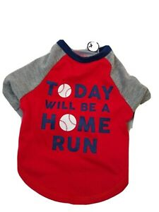 Today Will Be a Home Run Dog  Red T Shirt  XS  New