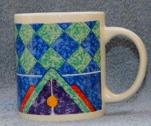 Gibson Housewares Coffee Mug Abstract Art Blue Green Ceramic Cup