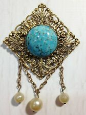 Filigree brooch Russian jewelry Vintage Carved Brooch natural stone 30s pin