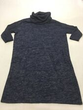 Gap Womens L Large Blue Heathered Cowl Neck Sweater Dress Soft 3/4 Sleeves