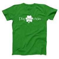 Pog Mo Thoin Funny Irish Gaelic Humor Green Basic Men's T-Shirt
