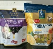 Manuka Health CHOICE OF 58 Natural Manuka Honey or Blackcurrant Lozenges NIP!