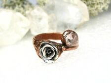 Rose and Herkimer Diamond-Size 8 Organic Solid Copper Flower Ring-Fine Silver