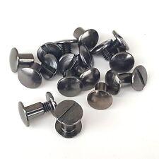 """10 Pack 1/4"""" Black Gun Metal Chicago Screws Solid Belt/Tack Screw Post"""