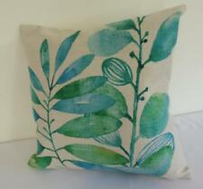 Hamptons Watercolour Green & Teal Leaves Linen Look Cushion Cover 45cm