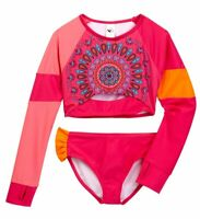 New 2 pcs Limeapple Cropped Long sleeve Rash Guard Swim Set UPF 50+ Girl Pink  7