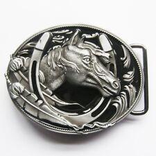 Two Tone Black/Silver Horse Horseshoe Cowboy Western Metal Belt Buckle