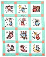 """Fairway Stamped Embroidery Pack 9"""" Quilt Blocks Set 12 ~ Owls #92314 Sale"""
