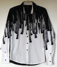 Royal Testimony Black & White Brushstroke Button-Front L/S Roll-Tab Shirt S