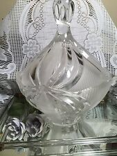Vintage Crystal Cut/Etched Lidded Candy Dish Crown Handle