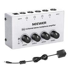 Neewer 4-Channel Stereo Headphone Amplifier Splitter Amp for DJ Studio Recording