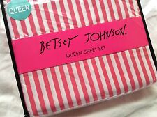 Betsey Johnson QUEEN Sheet Set ~ Pink & White Stripes