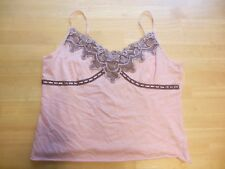NEW YORK and COMPANY Women's Camisole CAMI size Large Pink black lace cotton
