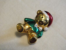 Holiday Brooch Pin Gold Tone Christmas Santa Bear Red White Green Enamel