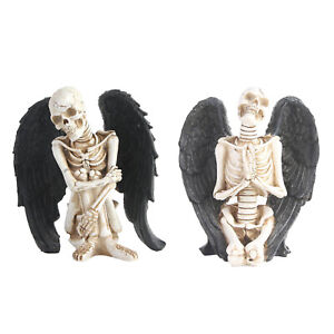 Resin Angel Skull Statue Skeleton Skull Head Sculpture Figurines Scary Party