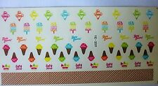 Nail Art Sticker Water Decals Transfer Stickers NEON Holidays Ice Cream Lollies