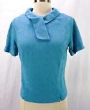 Vintage 60s Mod Turquoise Blue Novelty Knit Secretary Jackie O Blouse Top M