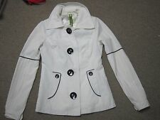 Soia & Kyo Womens XS Short Rain Jacket Coat New No Tags White with Black Accents