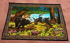 "Vintage 70s Brown Bear Tapestry Vibrant Colors 56"" x  38"" Retro 100% Cotton"
