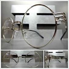 Mens Women VINTAGE RETRO Style Clear Lens EYE GLASSES Round Silver Fashion Frame